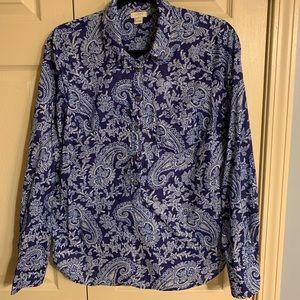 J. Crew popover blue paisley shirt